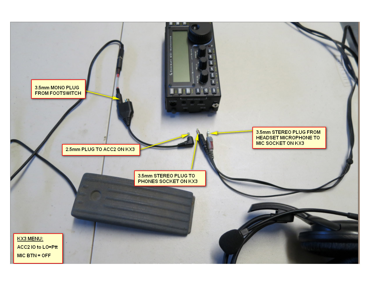 small resolution of wiring a footswitch for use with a computer type headset on the kx3