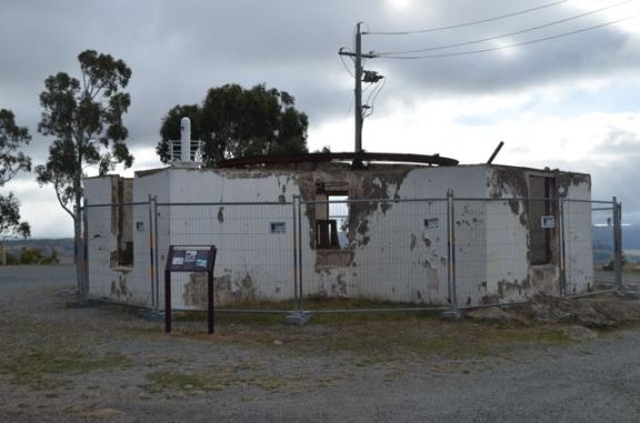 One of the damaged buildings