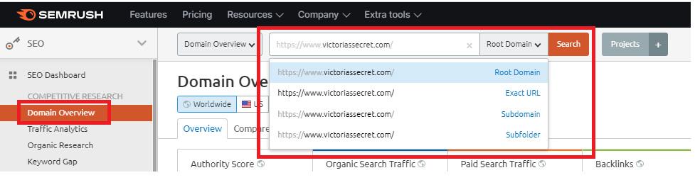 semrush subdomain root exact url subfolders searches examples