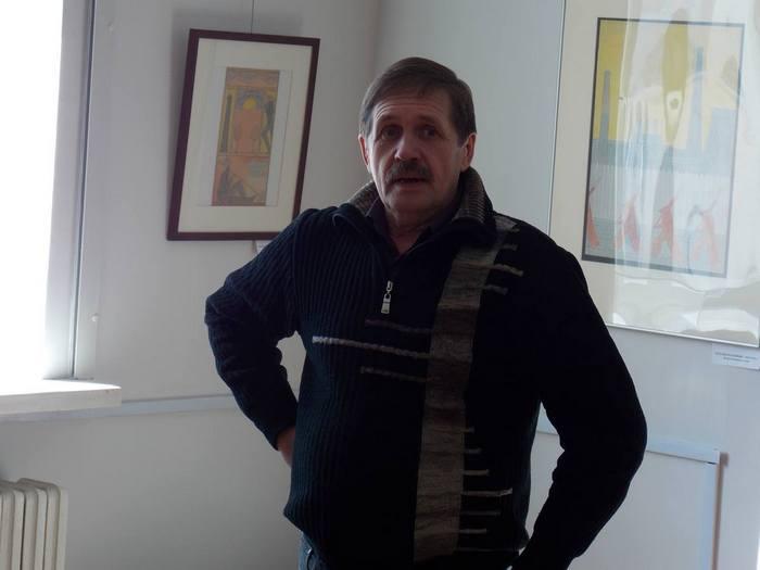 Александр Малей на открытии супрематической выставки Давида Якерсона