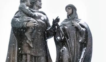 зима, памятник А Невскому