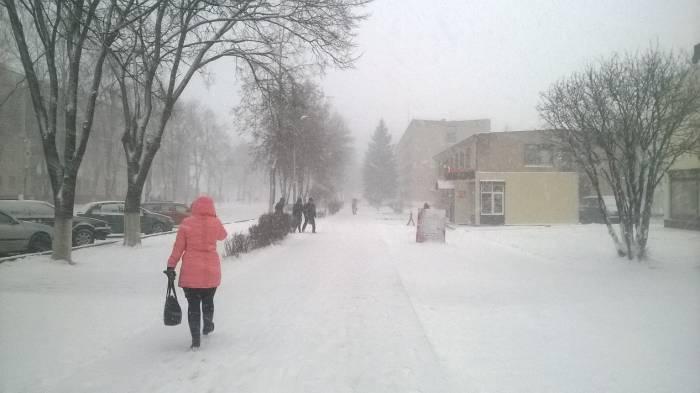 Снегопад в Новолукомле. Фото Анастасии Вереск