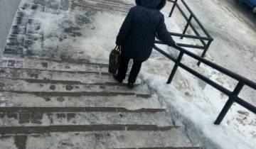 лестницы, снег, витебск, коммунальщики