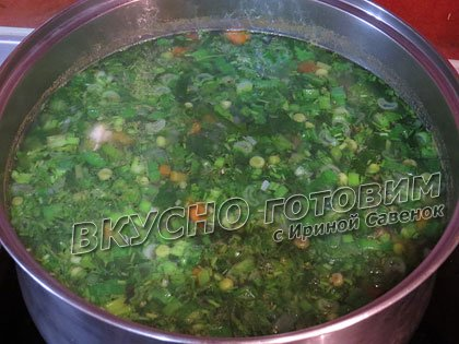 Овощной суп со шпинатом, листовым салатом и зеленым горошком - шаг 5