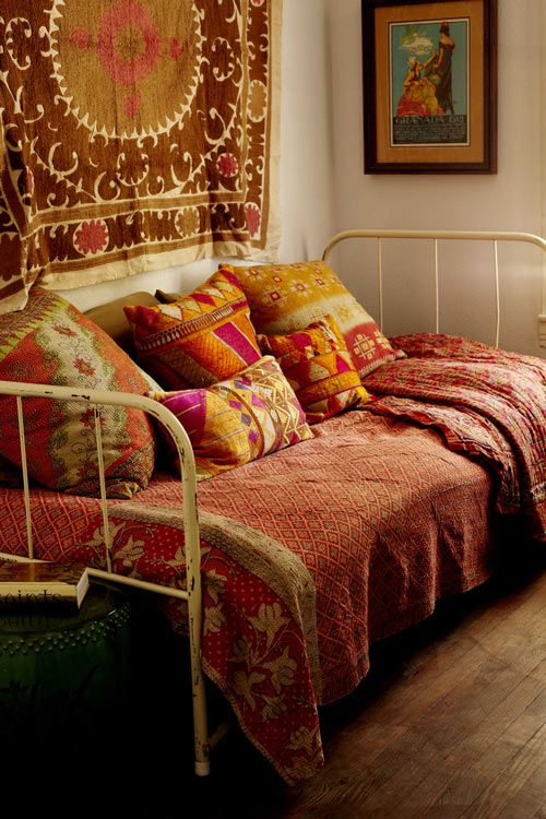 Daybed with ethnic upholstery
