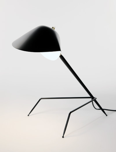 MDE-TRP The shade of this lamp is modeled after a moule or mussel shell. The arm is connected by a brass swivel and supported by an unusual tripod base