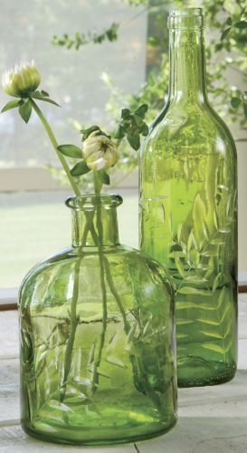 Less is more, simple green glass vases via Country Door