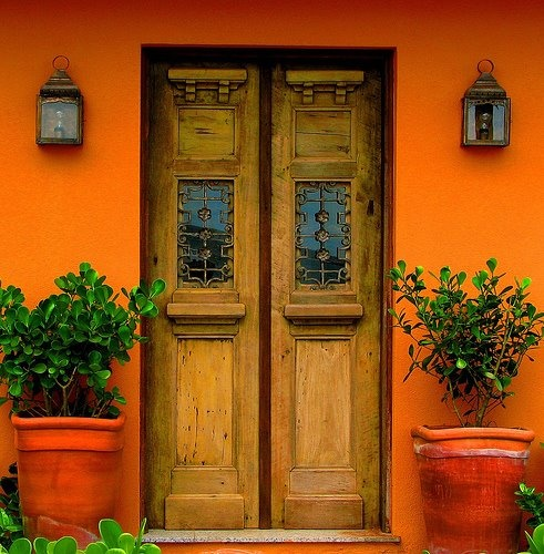 I love the green foliage constrasting against the orange wall - via Eyoupay