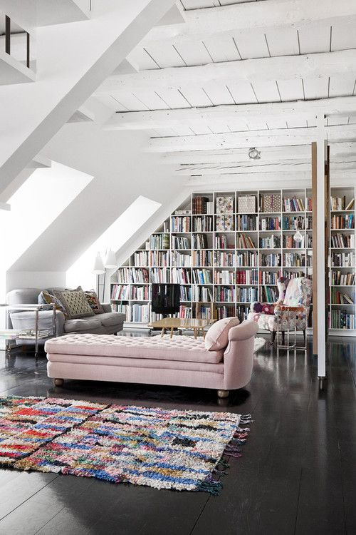 I can see myself reading for hours on this lovely pink daybed - via Interior Decline