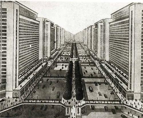 La Ville Radieuse, megalomanic cityplanning by Le Corbusier