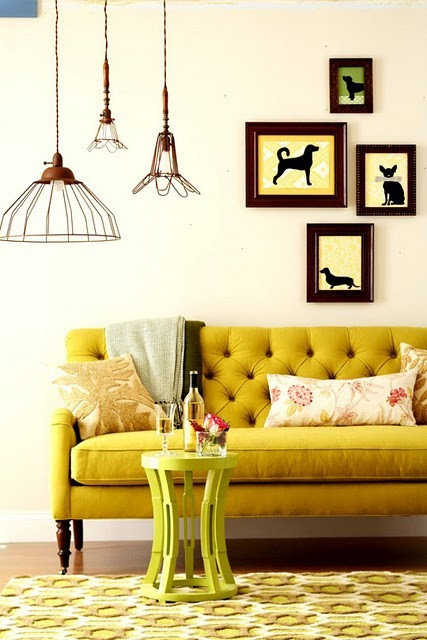 Mustard tufted sofa - via Pandashouse