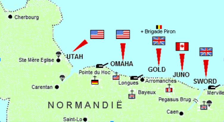 Afbeelding 1, van west naar oost waren de codenamen ervan Utah, Omaha, Gold, Juno en Sword. De Amerikaanse strijdkrachten landden op Utah en Omaha.