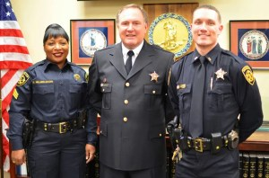 "The Virginia Beach Sheriff's Office is debuting new uniforms Monday, Aug. 12, 2013. Here, from left, Sgt. Donna Millner-Adams is in the new ""Class B"" uniform, Sheriff Ken Stolle is wearing the new dress uniform and Lt. Joseph Bartolomeo, Jr. is in the new Class A uniform. (Courtesy of the Virginia Beach Sheriff's Office)"