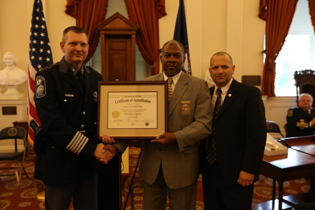 L to R: DCP Col. Steve Pike, VLEPSC Commissioner Gabe Morgan, and VLEPSC Program Manager Gary M. Dillon
