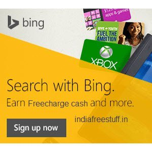 Earn Freecharge Free Fund Code For Searching on Bing Search