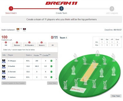 How to create team at dream11