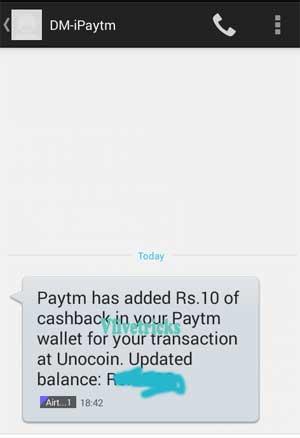 unocoin paytm sign up bonus proof