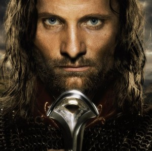 Villain Matrix Stats: Dark Lord Sauron - Silmarillion, Hobbit, Lord of the Rings - http://vlnresearch.com/villain-matrix-stats-sauron - Aragorn with Narsil Lord of the Rings Return of the King image