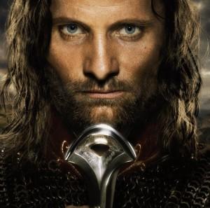 Villain Matrix Stats: Dark Lord Sauron - Silmarillion, Hobbit, Lord of the Rings - http://vlnresearch.com/villain-matrix-stats-sauron - Aragorn with Narsil Lord of the Rings Return of the King image