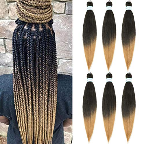 ATRAENTE Pre Stretched Braiding Hair 26 Inch 6 Packs Natural Synthetic Ombre Braiding Hair Extensions for Braiding Hot Water Setting Perm Soft Yaki Texture Crochet Twist Braids (1B/27)