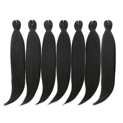 DAN NING 24 '' Pre-stretched Braiding Hair Original Kanekalon Braid Hair Extensions Yaki Texture Crochet Twist Hair Braids without Irritation 7 bundles (1b#)