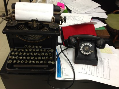 Phone from a neighbor; typewriter from dad.