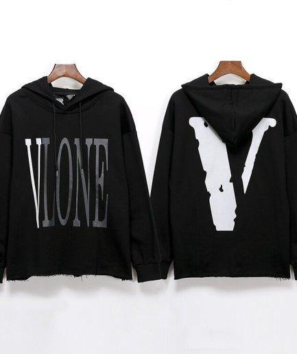 Vlone 3M Reflective Hip Hop Black Hoodies