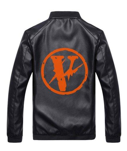 VLONE Logo Black Leather Jacket