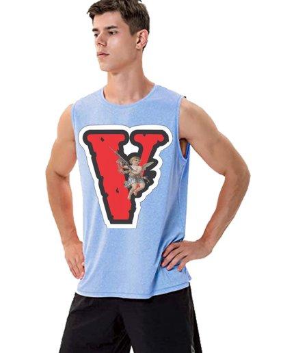 Vlone Angel Friends Sky Blue Sleeveless Shirt