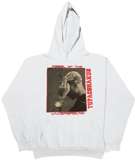 Vlone x Tupac Rebel Of The Underground Hoodie - White
