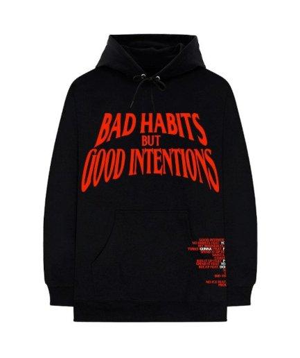 Vlone Bad Habits But Good Intension Black Hoodie