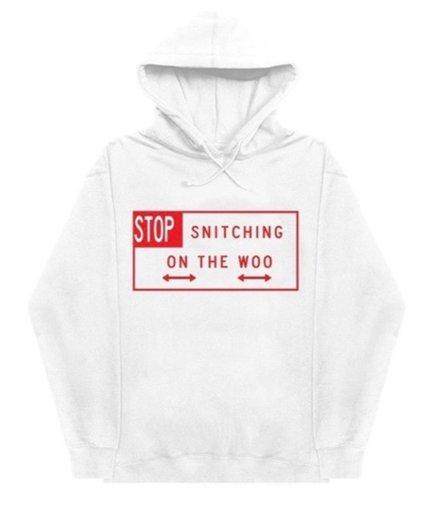 Vlone x Pop Smoke Stop Snitching White Hoodie
