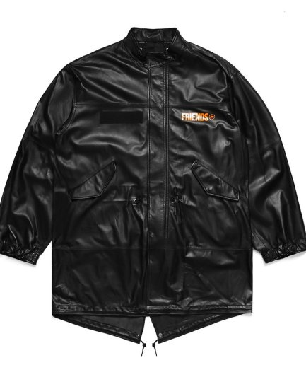 Vlone Fragment Leather Black Jacket