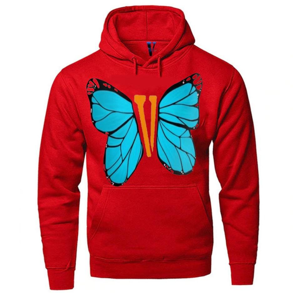 Vlone Blue ButterFly Hoodie Red