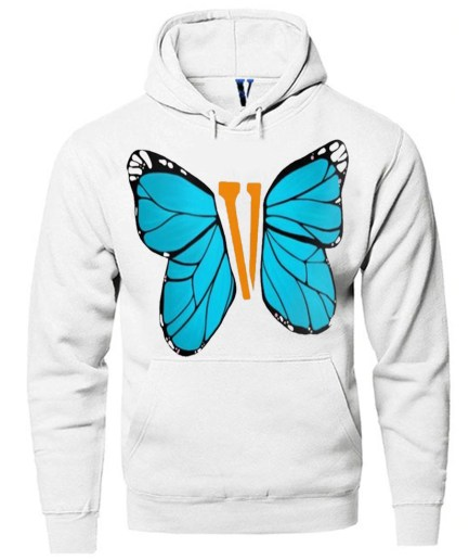 Vlone Blue ButterFly Hoodie White