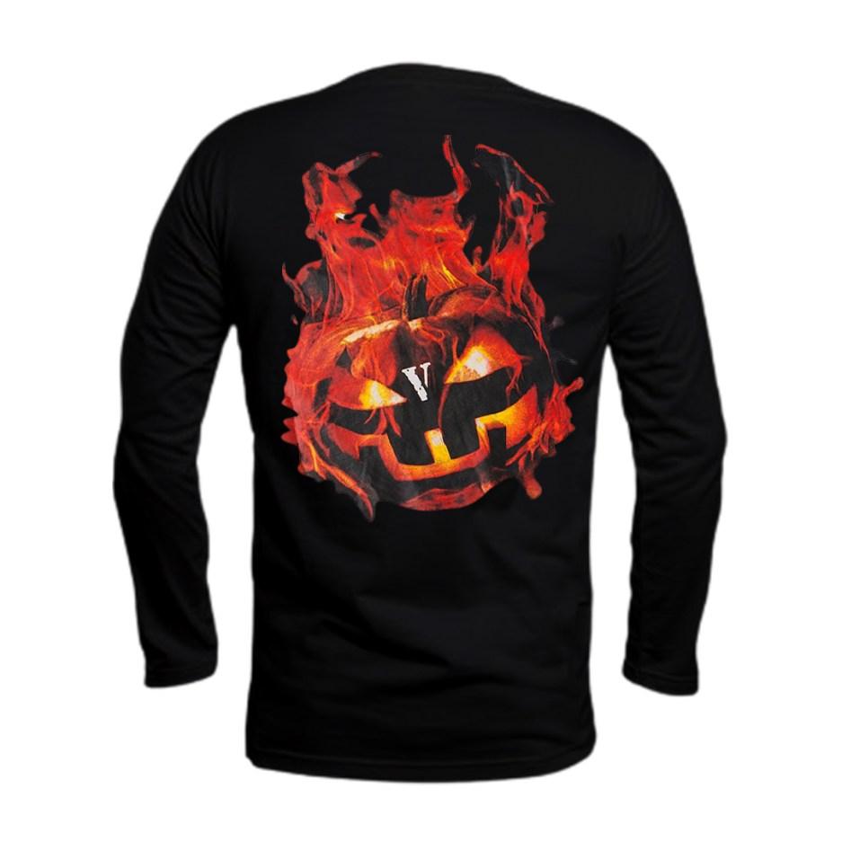 Vlone Halloween Flaming Pumpkin Longsleeve–Black-Back