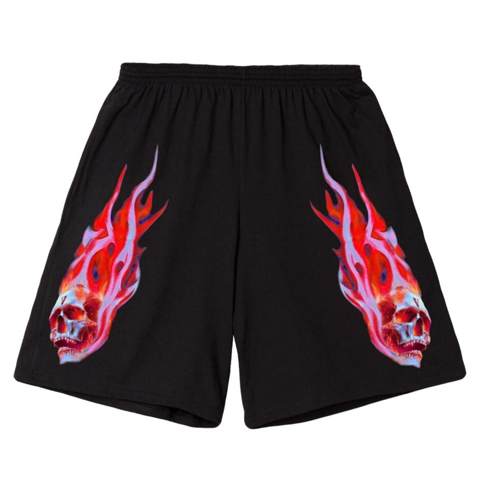 Vlone Skully Red Flame Black Short