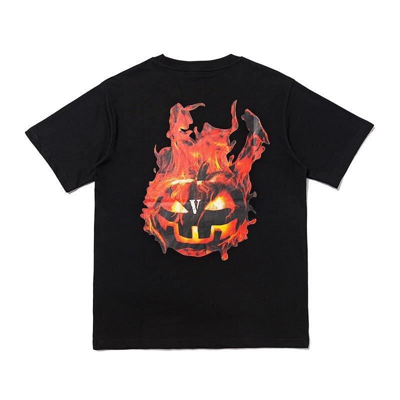 Vlone Halloween Flaming Pumpkin Tee–Black-Back