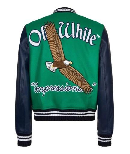 Off-White Eagle Logo Leather Sleeve Varsity Jacket back