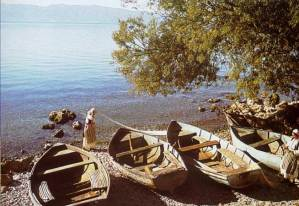 Whitening the cloths on the shores of Ohrid Lake