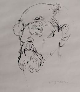 Todor Skalovski portrait by Pavle Kuzmanoski.