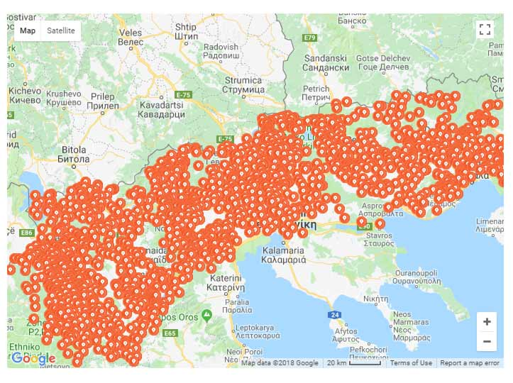 Map of Macedonian village and town names changed by the Greeks