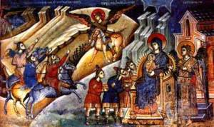 The Salutation of newborn Jesus by the three Wisemen of the East, Markov Manastir, Skopje, 14th century.