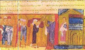 """""""The Death of Czar Samuil"""" - a miniature of the Chronicle of Manasses, 13th - 14th century."""