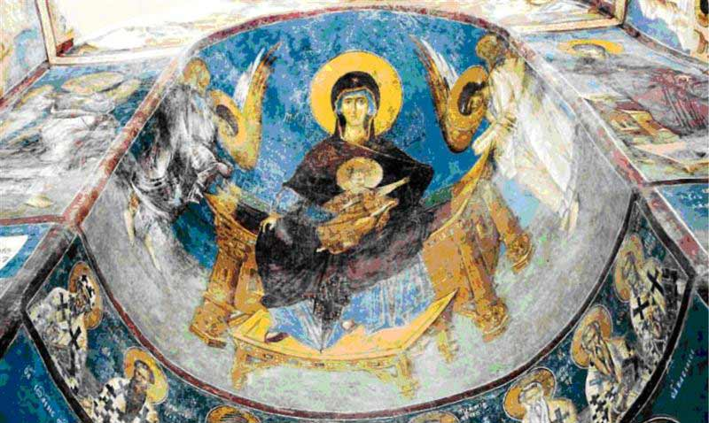Fresco in the St. Andrew's Monastery on Lake Matka, 17 km away from Skopje.