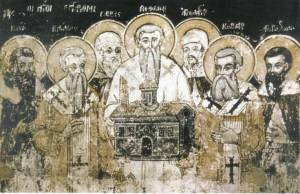 St. Methodius and his students in the Monastery of St. Naum near Ohrid