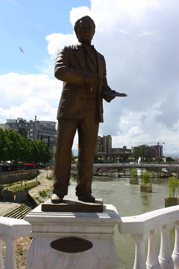 Dimitar Kondovski Statue at the Art Bridge in Skopje