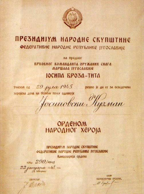 Kuzman Josifovski Pitu proclamation for the Order of the People's Hero.