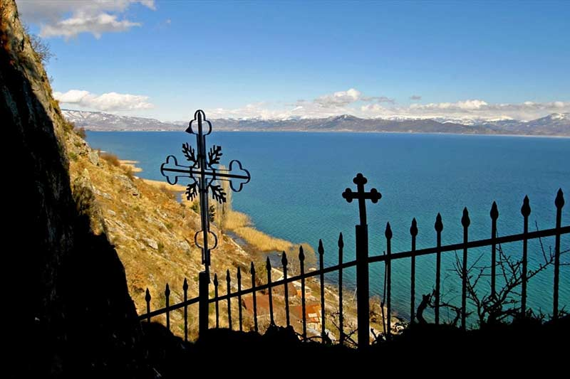 Ohrid Lake view from St Archangel Michael church Radozda
