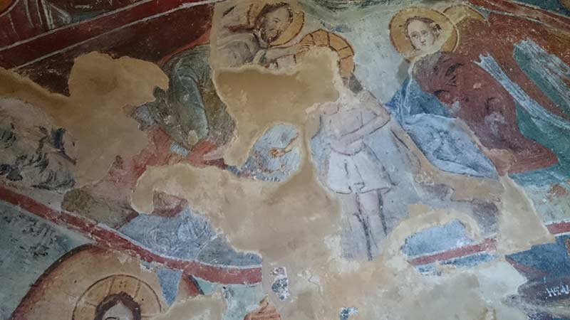 Fresco painting in St. Athanasius cave church